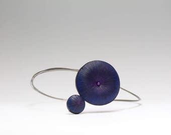 double circle pendant necklce, blue statement necklace, polymer clay pendant, navy blue necklace, big geometric pendant, gift for women
