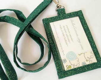 Lanyard ID Holder,  Sparkling Emerald Green Cotton Clip On ID Holder with Hidden Cash Stash and Matching Lanyard
