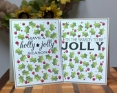 Christmas Greeting Card, Merry Christmas Card, Christmas Card Pack, Holly Jolly Season Card, Tis the Season Card, Set of 6
