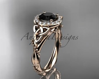 14kt rose gold diamond celtic trinity knot wedding ring, engagement ring with a Black Diamond center stone CT7328