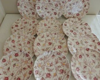 CHIPPY CHINA Twelve 12 Pcs Vintage Copeland Spode Rosebud Chintz Small Plates Pink Green English China for Jewelry Mosaics Crafts Upcycling
