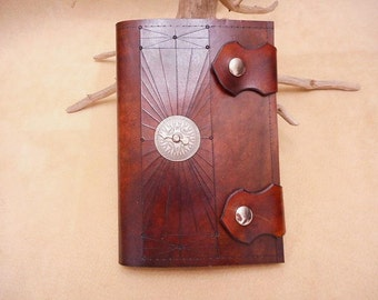 Journal-Leather Wrap-Handmade-Compass