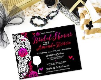 Day Of The Dead Invitations Sugar Skull Invitations Bridal ShowerOffbeat  Wedding Stationery Offbeat Invitation Wine Tasting