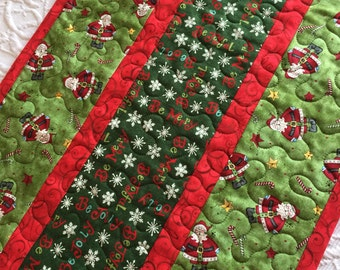 Christmas Table Runner Quilt, Santa Claus, Be Joyful, Green, Red, Handmade