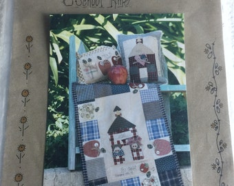 School Tyme Mini Wall Quilt and Pillows Sewing Pattern  UC FF Uncut Quilting School House Apples