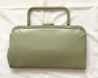 Soft Green Vintage 1940s Clutch with Gold Accents