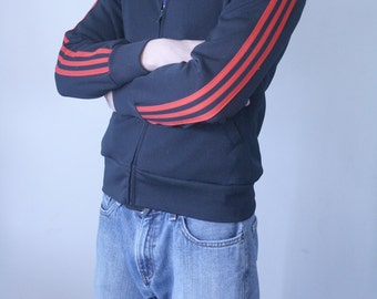 Sports Scene Black Jacket with Red Stripes on Sleeves