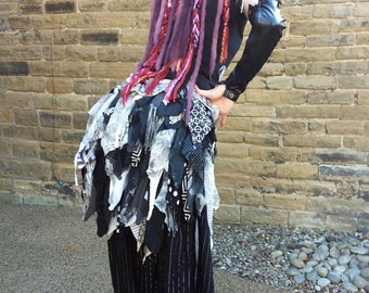 Steampunk tribal belly dance costume bustle Silver Screen. READY TO SHIP Grey black white festival clothing tatter skirt M to plus size gift