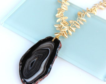 Striped Black Agate Necklace, Gold Leaf Chain, Fringe Chain, Onyx, Black and White