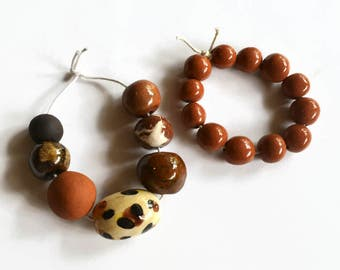 Animal print, brown, terracotta,  African beads, clay beads, Handmade Ceramic Beads,  Artisan Beads, 2 bead strands, 19 beads,  handmade
