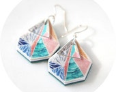 Snowflake Sunset peach triangle art earrings by NEXT ROMANCE Jewels Melbourne Australian Design Made Vicki Leigh Jewellery