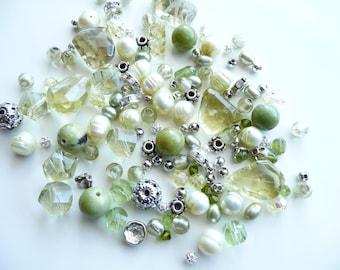 BULK Swarovski Crystals-Bicone-Freshwater Pearl-Czech Lime Green-Lemon Topaz - Serpentine Rounds -Silver - Rondelles -4-22mm-Over 144 beads