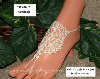 Ivory Barefoot Sandals Shoes Footwear Jewelry Beach Wedding Shoes Cream Bridal Anklet Sandles Beach Wedding Crochet Barefoot Sandals