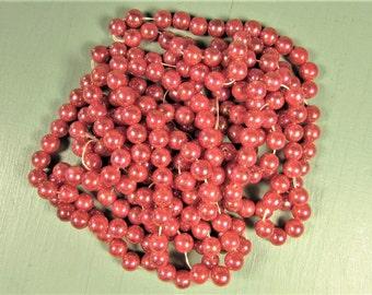 Dark Pink Pearl Beads - Vintage Iridescent 6 mm Loose