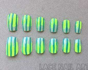 Neon Green and Turquoise Gradient with Stripes - Handpainted Press On False Nails