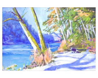 Oregon Landscape Print Stay on the Sunnyside Oakridge Oregon Willamette River 12x18 inches matted 18x24 inches