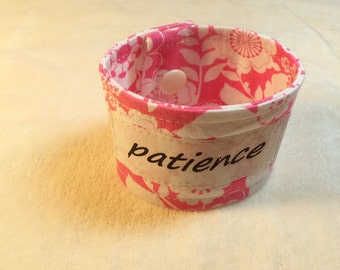 Words of Inspiration Cuff Bracelet Patience in Pink with White Flower Patterns