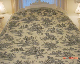 Toile Bedspread French Bedcover Waverly Coverlet, Twin Cottage Prairie Shabby Chic