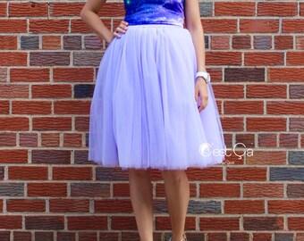 Clarisa - Lavender Tulle Skirt, Light Purple Puffy Princess Tutu, Bridesmaids Skirt, Midi Tulle Skirt, Plus Size Tulle Skirt, Wholesale