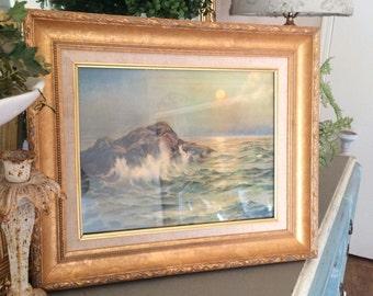 Vintage Framed Seascape Lithograph Edward Gross Co New York E. Conyne Daly Art