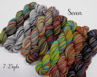 Seven -  7 - 25  Sock yarn minis, 25 yds each, 175 yds total