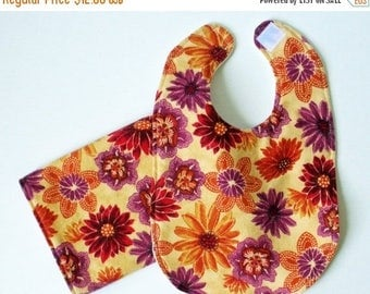FINAL CLEARANCE Clearance Orange Floral Bib and Burp Cloth Set - Purple, Orange and Burgundy Floral