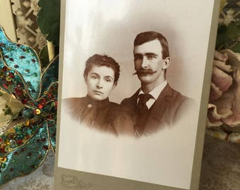 Lovely Sepia Victorian Photograph of Handsome Young Couple from Fort Madison, Ia