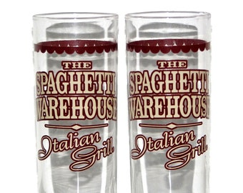 Vintage 80s 90s Set of Two SPAGHETTI WAREHOUSE Italian Grill Tall Drinking Glasses