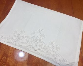 Vintage White kitchen hostess finger tip towel with battenburg lace edging for housewares, home decor by MarlenesAttic