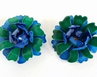 Vintage 60s ROYAL BLUE ROSES Earrings Clip Back On Vtg Costume Jewelry Mod Flowers