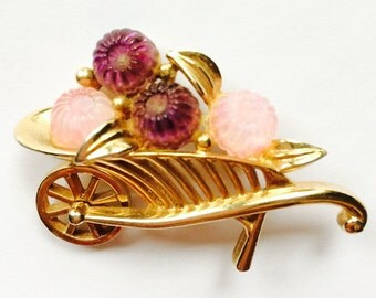 Vintage BOUCHER Wheelbarrow Brooch with Pink & Purple Fruit Salad and Moveable Wheel
