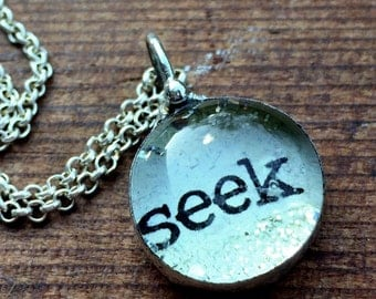 Seek Necklace, Inspirational Jewelry, What's Your Word Soldered Glass Bubble Charm Necklace, Soldered Glass Necklace, Kyleemae Designs