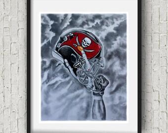 Tampa bay buccaneers Football Art Print buccaners Decor