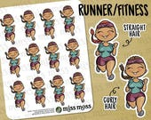 Tan Skin Running Fitness Exercise Gym Planner Stickers, Latina Hispanic Boricua - Erin Condren, Happy Planner, Kikki K, Filofax, Decorative