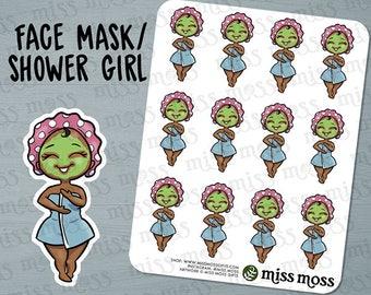 Brown Skin Cute Face Mask Shower Spa Planner Stickers, Black African American - Erin Condren, Happy Planner, Kikki K, Filofax, Decorative