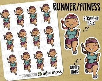 Tan Skin Running Fitness Exercise Gym Planner Stickers, Latina Hispanic Boricua - Erin Condren, Happy Planner, Kikki K, Filofax, Decorative