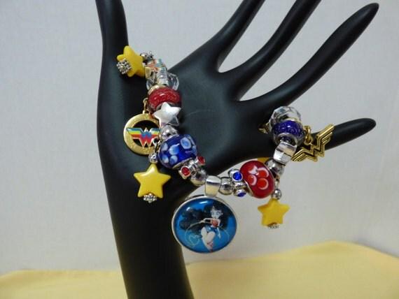 items similar to wonder woman charm bracelet jewelry. Black Bedroom Furniture Sets. Home Design Ideas