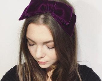 Royal Purple velvet vintage style 60s 50s pinup retro hair headband bow, hat, hair bow