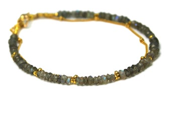 Labradorite Bracelet. Beaded Bracelet. Double Layer Bracelet. Also in Lapis or Green Garnet, Gold or Silver. B-2193-3