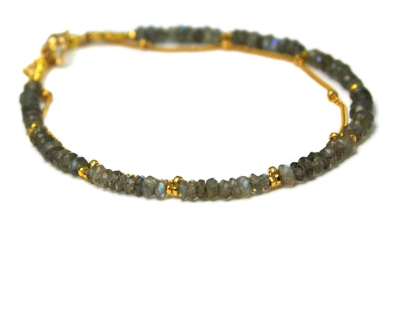 Labradorite Bracelet. Beaded Bracelet. Double Layer Bracelet. Also in Lapis or Green Garnet, Gold or Silver. B-2193-3