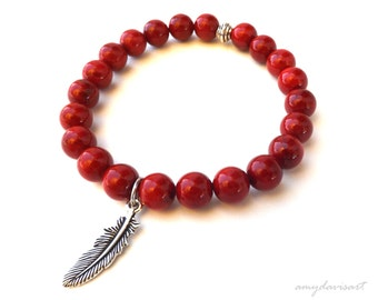 Red Stackable Bracelet, Feather Bracelet, Bohemian Jewelry, Beaded Stretch Bracelet, Feather Jewelry, Red Jewelry, Gift for Her, B16.31