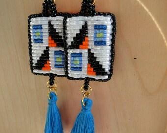 Beaded Earrings, Alternating Triangle Designs in Blue, Orange, and Black with tassels