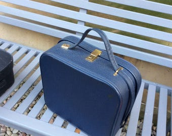 Navy blue vintage vanity case