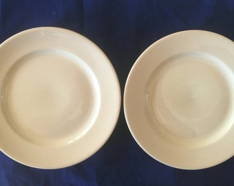 "Buffalo China Diner Hotel Restaurant Tan Cafe 9"" Luncheon or Dinner Plates (Set of Two) in Very Good Lightly-Used Condition"