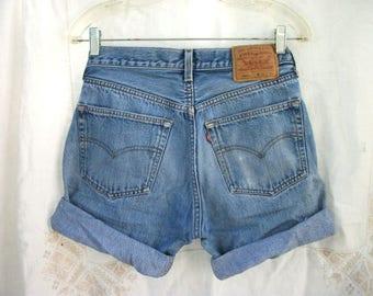 Cut Offs ~ Faded Jeans ~ Vintage ~ Levi denim ~ Button Fly ~ Frayed Holes ~ Men's // Women's