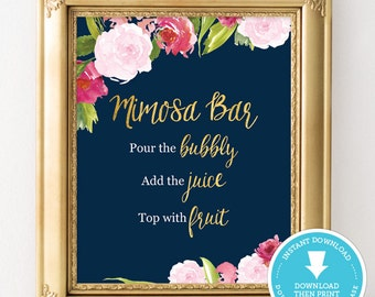 Mimosa bar sign - Navy and gold bridal shower sign - Navy and gold wedding - wedding sign - bridal shower decoration - watercolor flowers