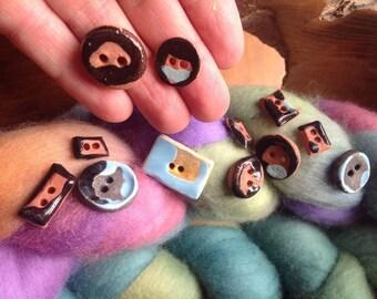13 Small Pottery Buttons, Handmade, Terra Cotta, 2 hole, Rustic, Modern