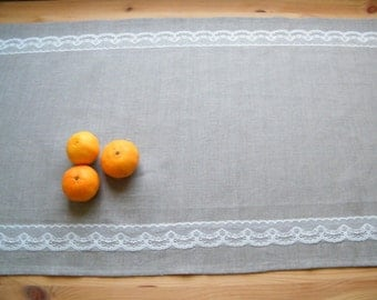 Linen Table Runner With Lace Pure Flax Linen Linens Dining Wedding Bar