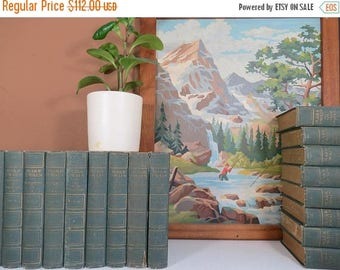 SPRING SALE Antique Mark Twain Books // Early 1900's Dark Green Hardcover 20 Volume Incomplete Set of Works Rustic Worn Condition Bookshelf