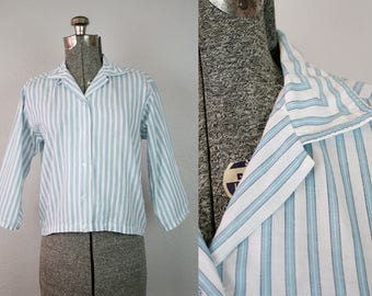 1950's Blue and White Stripe Cotton Blouse / Size Medium
